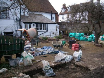 clearance work is finishing and the setting out of the site and foundations for the paving are being laid