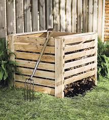 Wooden slatted compost bin