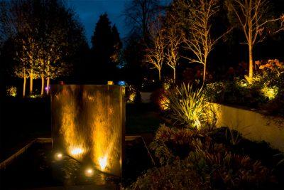Garden sculptures at night