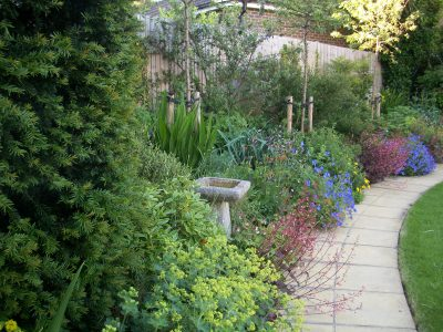 A wide sweeping path leads to the bench at the bottom of the garden